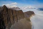 Aerial of  Pandora Spire Taylor Glacier. The Dry Valleys. Antarctica.