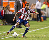 CARSON, CA - July 7, 2012: Chivas USA defender James Riley (7) during the Chivas USA vs Vancouver Whitecaps FC match at the Home Depot Center in Carson, California. Final score Vancouver Whitecaps FC 0, Chivas USA 0.