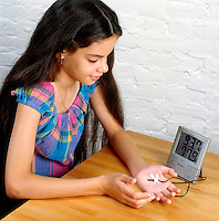 MEASURING HEAT CAUSED BY FRICTION<br /> Using Indoor Outdoor Thermometer Sensor<br /> (Variations Available).<br /> By taping the sensor of an indoor/outdoor thermometer to her hand a student can measure the amount of heat generated by rubbing her hand together.