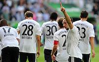 FUSSBALL   1. BUNDESLIGA   SAISON 2011/2012    2. SPIELTAG VfL Wolfsburg - FC Bayern Muenchen      13.08.2011 Franck RIBERY (Bayern) gruesst nach dem Abpfiff die Bayern Fans