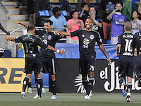 MLS All-Stars forward Chris Wondoloswski (8) celebrates with team mates his score in the 21th minute of the game. The MLS All Stars Team defeated Chelsea FC 3-2 at PPL Park Stadium, Wednesday 25, 2012.