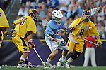 29 MAY 2011:  Kevin McCormick (10) of Tufts University goes for the ball against Andrew Sellers (8) of Salisbury University during the Division III Men's Lacrosse Championship held at M+T Bank Stadium in Baltimore, MD.  Salisbury defeated Tufts 19-7 for the national title. Larry French/NCAA Photos