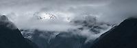 Twilight moods of Southern Alps near Fox Glacier after fresh snowfall, Westland Tai Poutini National Park, UNESCO World Heritage Area, West Coast, New Zealand, NZ