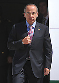 Mexican President Felipe Calderon arrives for the Nuclear Security Summit, at Andrews Air Force Base, Maryland, April 12, 2010.  .Credit: Kevin Dietsch / Pool via CNP