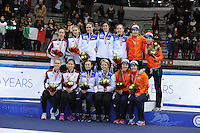 SHORT TRACK: TORINO: 15-01-2017, Palavela, ISU European Short Track Speed Skating Championships, Podium Relay Ladies, Team Hungary, Team Italy, Team Netherlands, Suzanne Schulting, Yara van Kerkhof, Rianne de Vries, Lara van Ruijven, ©photo Martin de Jong