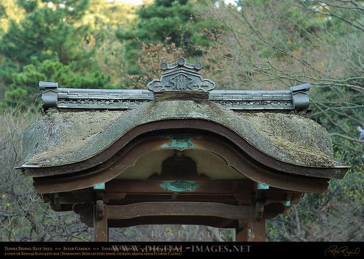 Teisha Bridge Detail Kara Hafu Chinese Gable copy of Kodaiji Kangetsu-dai Toyotomi 16th c moon-viewing bridge Sankeien Inner Garden Yokohama Japan