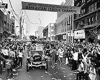 A's parade up Broadway in downtown Oakland, led by World Series hero Gene Tenace .The A's beat the Cincinati Reds in 1972 for their first of three straight championships. (copyright 1872 Ron Riesterer).
