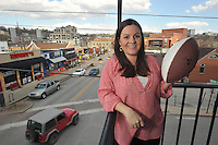 NWA Democrat-Gazette/Michael Woods --03/24/2015--w@NWAMICHAELW... Courtney Ogden, one of the coordinators for the Blondes vs. Brunettes flag football game fundraising event to benefit Alzheimer's Arkansas Tuesday afternoon in Fayetteville.