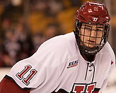 Ty Pelton-Byce (Harvard - 11) - The Harvard University Crimson defeated the Northeastern University Huskies 4-3 in the opening game of the 2017 Beanpot on Monday, February 6, 2017, at TD Garden in Boston, Massachusetts.