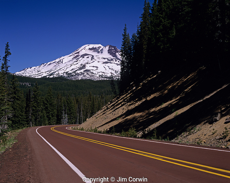 South Sister with Cascade Lakes Highway windy road Central Oregon State USA