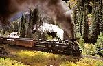 Durango & Silverton Narrow Gauge Railroad lumbers through the San Juan Mountains of Southwest Colorado.