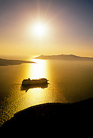 "Festival Cruises ""European Vision"" off the island of Santorini, the Cyclades, Greece"