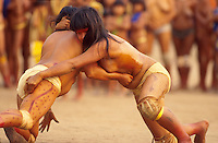 Women at Huka-Huka fight, indigenous People celebrating Yamuricuma Party at Kamayura tribe, a meeting of several indigenous groups from the south part of Xingu river. Xingu, Amazon, Brazil