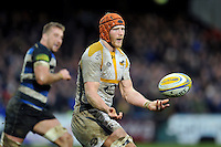 Kearnan Myall of Wasps passes the ball. Aviva Premiership match, between Bath Rugby and Wasps on February 20, 2016 at the Recreation Ground in Bath, England. Photo by: Patrick Khachfe / Onside Images