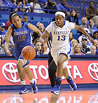 Sophomore guard, Bria Goss, runs the ball up the court. The University of Kentucky Women's Basketball team hosted DePaul University Friday, Dec 07, 2012 at Rupp Arena in Lexington. Photo by Kirsten Holliday