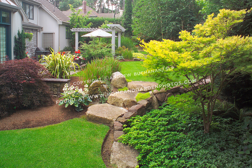 """Even the large stone stairs seem to """"spill"""" from an upper lawn to a lower one, as water would spill between ponds, in this scene from the upper, walking garden in this otherwise small suburban backyard east of Seattle.  Imagine the boulders as pondside platforms and the Japanese Bloodgrass as cattails in this Zen-like interpretation of a traditional Japanese rock garden. Design by Sander Groves landscapes, Inc."""