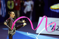 Vera Sessina of Russia turns and patterns with ribbon during team competition at World Championships at Baku, Azerbaijan on October 5, 2005. (Photo by Tom Theobald)
