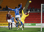 St Johnstone v Hearts..19.12.15  SPFL  McDiarmid Park, Perth<br /> John Sutton heads over the bar<br /> Picture by Graeme Hart.<br /> Copyright Perthshire Picture Agency<br /> Tel: 01738 623350  Mobile: 07990 594431