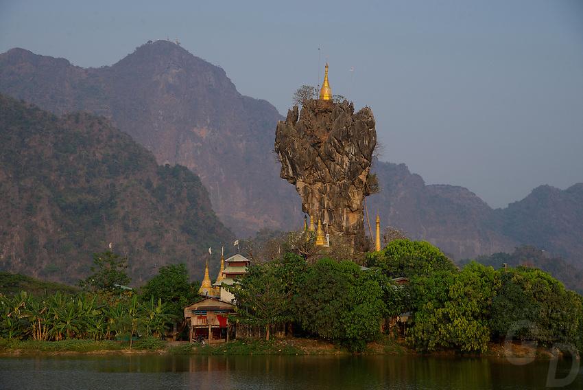 Zwekabin Mountains and the Kyaukkalat Pagoda Hpa An, Myanmar Burma ...: gdeichmann.photoshelter.com/image/I0000mmA257rO2fg