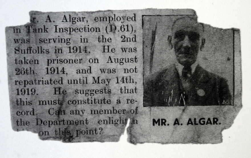 LOCAL NEWSPAPER ARTICLE REGARDING ALFRED ALGAR'S LONG INTERMENT AS A POW DURING WW1.   PHOTO BY CLARE KENDALL. 25/6/2014.