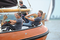 ZEILEN: FRYSLÂN: 2014, SKS skûtsjesilen, skûtsje Langweer, schipper Johannes Meeter, ©foto Martin de Jong