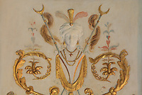 """Frescoes and carved stuccoes depicting a figure with turban, earrings, feathers and collars, probably a eunuch, Turkish Boudoir, redesigned in 1777 for Marie Antoinette, by architect Richard Mique, Chateau de Fontainebleau, France. The decoration is the achievement of the brothers Rousseau, and the furniture dates to the period of the First Empire, with precious textile work done by Jacob-Desmalter for Empress Josephine. Including a small bedroom, mirrors, and curtains raised by pulleys, this exceptional ensemble has been restored in 2014 thanks to the support of INSEAD and the generosity of subscribers of sponsors belonging to the group """"Des Mécènes pour Fontainebleau"""". Its opening to the public is schedule for Spring 2015. Picture by Manuel Cohen"""