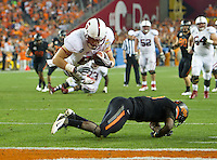 STANFORD, CA - January 2, 2012: Stanford tight end Zach Ertz (86) dives for the end zone against Oklahoma State at the Fiesta Bowl at University of Phoenix Stadium in Phoenix, AZ. Final score Oklahoma State wins 41-38.