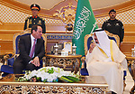 Saudi Arabia's King Salman bin Abdulaziz al-Saud meeting with Egyptian President Abdel Fattah al-Sisi in the capital Riyadh on 23 April 2017. Photo by Egyptian President Office