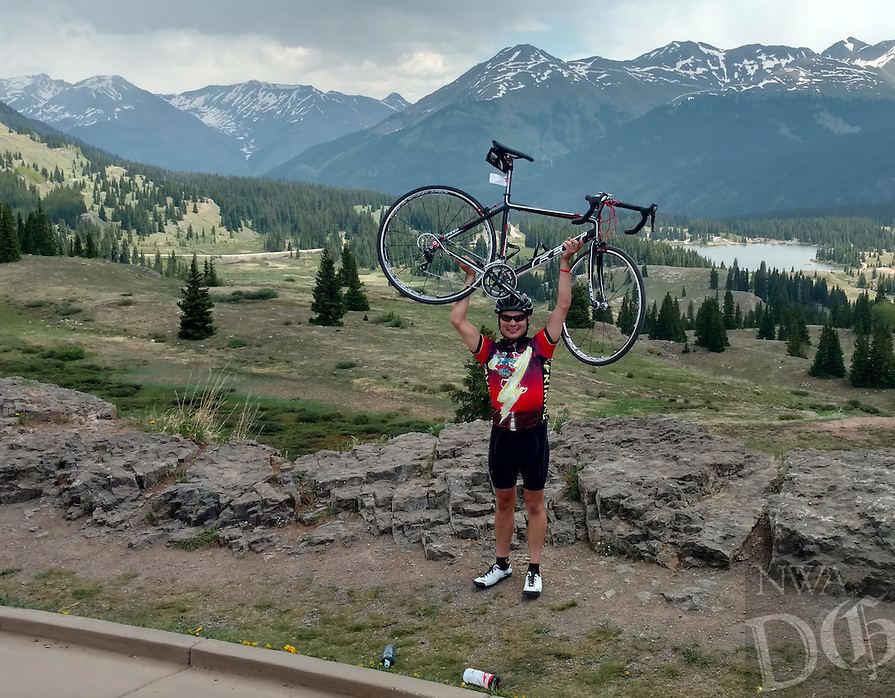 Courtesy photo<br /> TOUGH RIDE, WORTHY CAUSE<br /> Ryan Robertson of Fayetteville pauses among Colorado scenery during the Death Ride Tour to Defeat ALS held June 11-13 in the San Juan Mountains of southwest Colorado. The tour covered 235 miles and included 16,500 feet of climbing over five mountain passes. Robertson was one of 120 riders on the tour. He will be a senior at the University of Arkansas this fall.