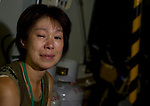 Tomomi Kumeta sheds a tear as she recounts her experiences of the March 11 tsunami outside her home in a temporary housing estate established for those who lost their homes during the March 11 quake and tsunami in Natori City, Miyagi Prefecture Prefecture, Japan on 08 Sept. 2011.  Photograph: Robert Gilhooly