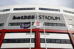 Stoke City 1 West Bromwich Albion 1, 24/09/2016. Bet365 Stadium, Premier League. The Premier League flag and the Stoke City flag flying outside The Bet365 stadium. Photo by Paul Thompson.