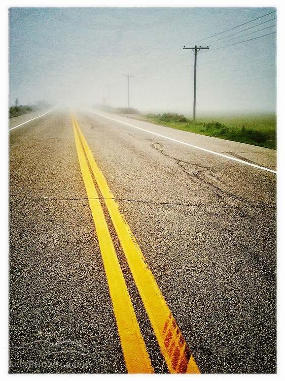 Foggy morning on Route 1A in Rye, New Hampshire. iPhone photo - suitable for print reproduction up to 8&quot; x 12&quot;.