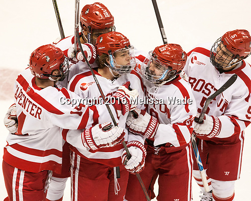 Bobo Carpenter (BU - 14), Charlie McAvoy (BU - 7), Clayton Keller (BU - 19), Jordan Greenway (BU - 18), Chad Krys (BU - 5) The Boston University Terriers defeated the visiting Yale University Bulldogs 5-2 on Tuesday, December 13, 2016, at the Agganis Arena in Boston, Massachusetts.