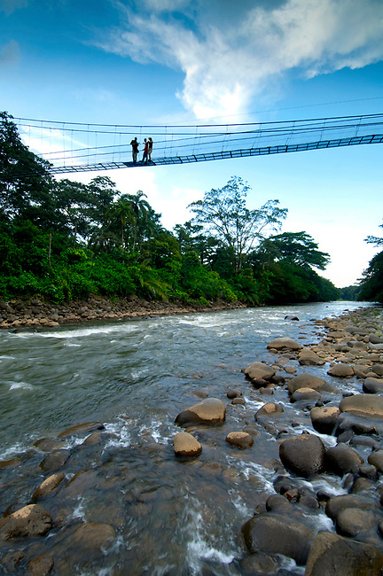 Costa Rica, La Virgen de Sarapiqui, Sarapiqui River, White Water Rafting, Suspension Bridge, Tirimbina Biological Reserve, Guide With Tourists, Rainforest