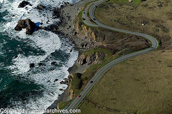 aerial photograph Highway One coastal Sonoma County, California