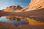 Formed from ancient sand dunes, Navajo sandstone in the shape of teepees reflect in an icy water pocket in Coyote Buttes, Arizona, USA