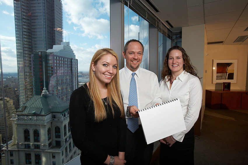 Lafayette College Alumnus  Craig Kaisand of BMO Capital Markets  hosted Nicole Bibeau ( Black top with blond hair) and Alexandra Davies-Lazarte ( White top with dark hair) for an externship. Here they are in the company's 24th floor conference room.