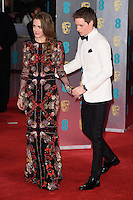 Hannah Bagshawe &amp; Eddie Redmayne at the 2017 EE British Academy Film Awards (BAFTA) held at The Royal Albert Hall, London, UK. <br /> 12 February  2017<br /> Picture: Steve Vas/Featureflash/SilverHub 0208 004 5359 sales@silverhubmedia.com