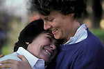 Older Lesbian Couple romantic loving, happy, hugging and laughing