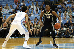 20 January 2016: Wake Forest's Bryant Crawford (13) and North Carolina's Joel Berry II (2). The University of North Carolina Tar Heels hosted the Wake Forest University Demon Deacons at the Dean E. Smith Center in Chapel Hill, North Carolina in a 2015-16 NCAA Division I Men's Basketball game. UNC won the game 83-68.