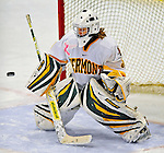 8 February 2009: University of Vermont Catamounts' goaltender Caitlin Whitlock, a Freshman from Westfield, NJ, has one get by during the third period against the University of New Hampshire Wildcats in the second game of a weekend series at Gutterson Fieldhouse in Burlington, Vermont. The Wildcats defeated the lady Catamounts 6-2 to sweep the 2-game series. Mandatory Photo Credit: Ed Wolfstein Photo