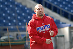 10/17/08 1:26:01 PM -- Philadelphia, PA, U.S.A. -- Philadelphia Phillies Shane Victorino warms up before practice October 17, 2008 at Citizen's Bank Park in Philadelphia, Pennsylvania. Victorino showed the team that cast him aside that it made a costly error. The Philadelphia outfielder, who spent six years in the L.A. Dodgers' farm system, used key hits in pressure situations, including a triple, Game 4 eighth-inning homer and six RBI during the NLCS, to help the Phillies beat the Dodgers and reach their first World Series since 1993. -- ...Photo by William Thomas Cain, Freelance.
