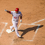 7 August 2016: Washington Nationals catcher Wilson Ramos crosses the plate to score the only run of the game on a solo blast to right in the 7th inning against the San Francisco Giants at Nationals Park in Washington, DC. With the 1-0 shut out of the Giants, the Nationals took the rubber match of their 3-game series. Mandatory Credit: Ed Wolfstein Photo *** RAW (NEF) Image File Available ***