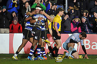 Bath Rugby players celebrate a try from Semesa Rokoduguni. Aviva Premiership match, between Bath Rugby and Northampton Saints on December 5, 2015 at the Recreation Ground in Bath, England. Photo by: Patrick Khachfe / Onside Images
