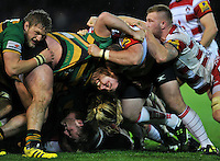 A general view of a collapsed scrum. Aviva Premiership match, between Northampton Saints and Gloucester Rugby on November 27, 2015 at Franklin's Gardens in Northampton, England. Photo by: Patrick Khachfe / JMP