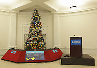 New York, NY, USA - November 19, 2012: OrigamiUSA 2012 Christmas Tree at the American Museum of Natural History. Detail of model decorations.