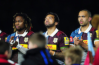 Harlequins players take part in a minutes applause in memory of Harlequins player Seb Adeniran-Olule. Aviva Premiership match, between Harlequins and Leicester Tigers on February 24, 2017 at the Twickenham Stoop in London, England. Photo by: Patrick Khachfe / JMP