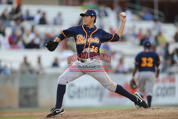 Montgomery Biscuits Matt Moore #36 delivers a pitch during a game against  the Tennessee Smokies at Smokies Park in Kodak,  Tennessee;  April 13, 2011.  Tennessee defeated Montgomery 12-2.  Photo By Tony Farlow/Four Seam Images