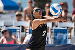 GULF SHORES, AL - MAY 07: Ka'iwi Schucht (2) of Hawaii hits the ball during the Division I Women's Beach Volleyball Championship held at Gulf Place on May 7, 2017 in Gulf Shores, Alabama.Pepperdine defeated Hawaii 3-0 to advance to the championship game.  (Photo by Stephen Nowland/NCAA Photos via Getty Images)