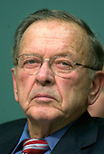 Washington, DC - January 5, 2005 -- United States Senator Ted Stevens (Republican of Alaska), Chairman, United States Senate Committee on Commerce, Science, and Transportation listens to the testimony of  United States Secretary of Commerce-designate Carlos Gutierrez in Washington, D.C. on January 5, 2005. The Committee is considering Mr. Gutierrez' nomination as Secretary of Commerce to replace Don Evans.  Senator Stevens is also the President Pro-Tempore of the United States Senate which puts him third in the line of succession to the President of the United States..Credit: Ron Sachs / CNP